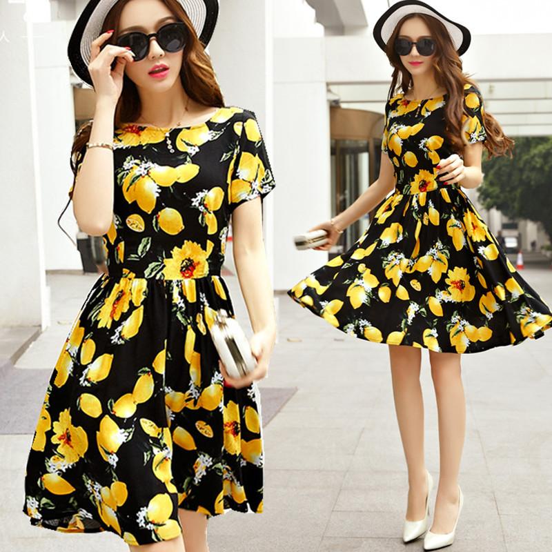 XL~5XL Brand Plus Size 2016 Summer Women Korean Elegant Lemon Floral Print Chiffon Ruffles Ladies Beach Big Tunic Dress Vestiods(China (Mainland))