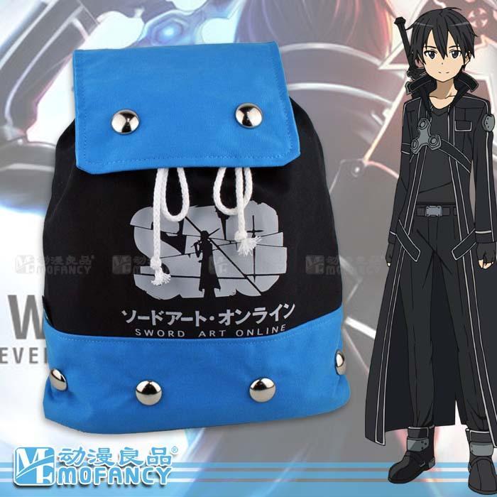 2015 Fashion Casual Sword Art Online Blue PVC Backpack Anime student school bag laptop shoulder bag(China (Mainland))