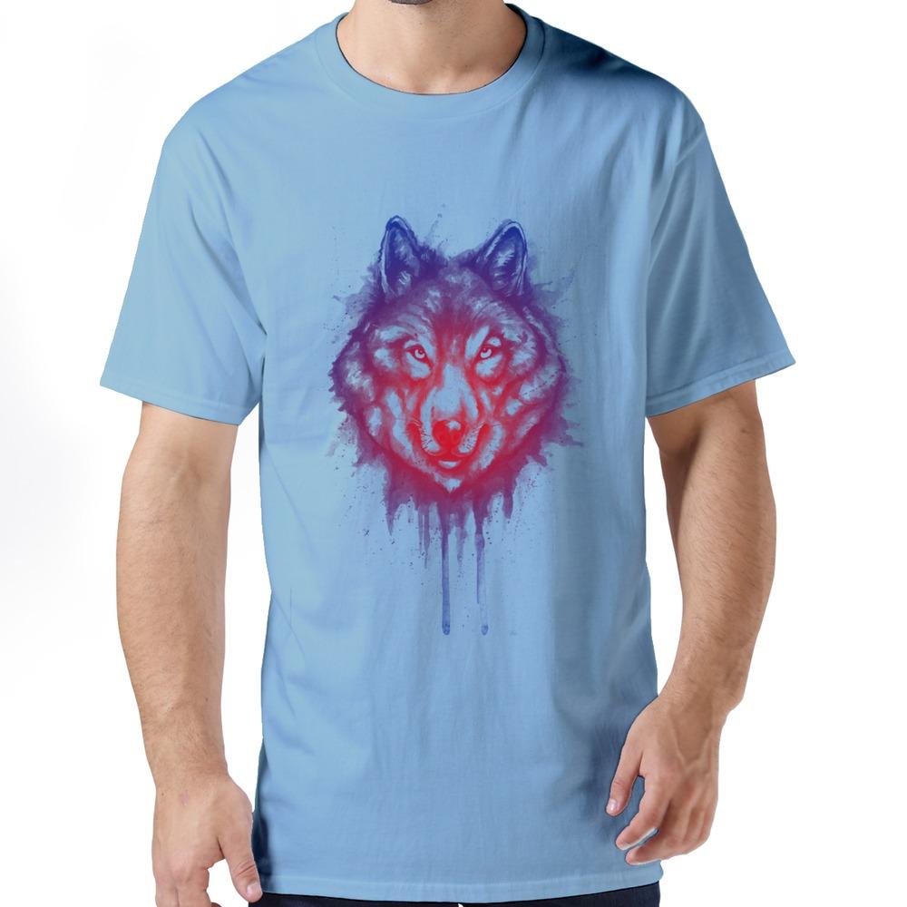 Swag 100% Cotton Man's Summer Style 2015 shading of wolf tees shirt men's t shirt Wholesale(China (Mainland))