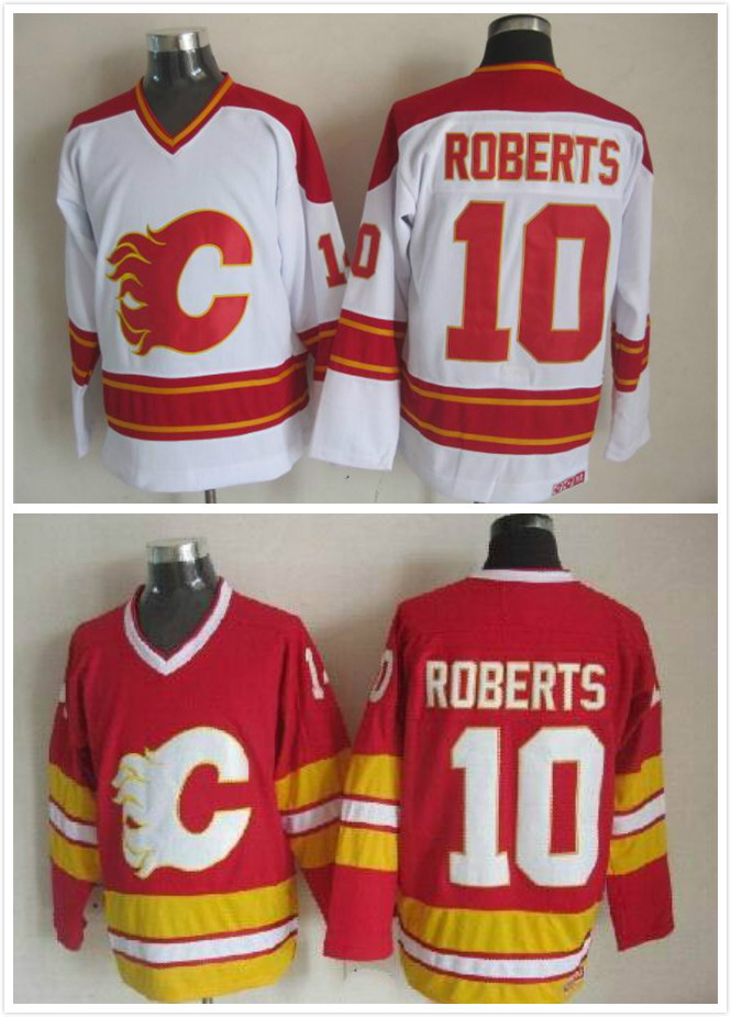 Calgary Flames10 Gary Roberts Jersey cheap CCM Vintage flames Ice Hockey Jerseys/Throwback jersey Stitched #10 Gary(China (Mainland))