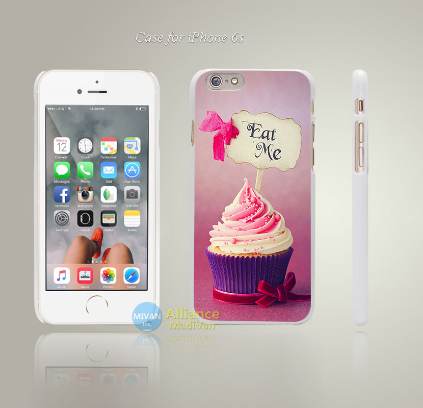 cupcake eat me pls Style Hard White Case Cover Coque for iPhone 4 4s 4g 5 5s 5g 5c 6 6s 6 6s Plus(China (Mainland))