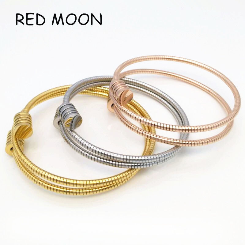 Famous Brand Stainless Steel Ladies Cable Wire Wrap Jewelry Bangle Bracelet Expandable Rose Gold Plated Women Armband(China (Mainland))