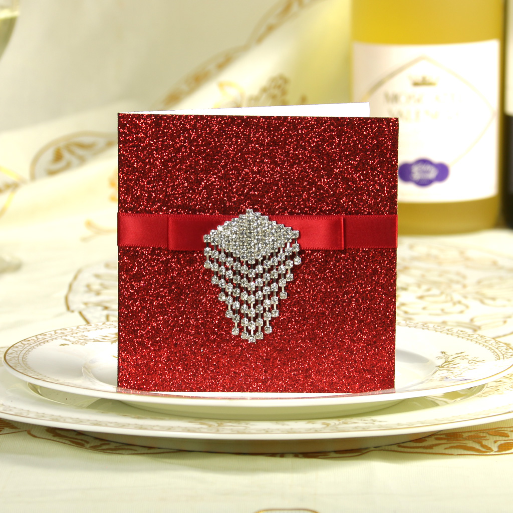 2015 Wedding high-end Customized Red Wedding Greeting Thank you Card Wedding invitation Card Christmas Card Reply Message(China (Mainland))