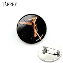 TAFREE Graceful Pole Dancing Movimento Immagine Spilla Design Alla Moda Spille Distintivo Cupola Di Cabochon In Vetro di Arte del Regalo Delle Donne Dei Monili PD32(China)
