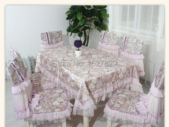 Tablecloths classical Rectangle Dining table cloth Chair cushion Luxurious lace pad mat Chair Cover print Table linen whole set(China (Mainland))