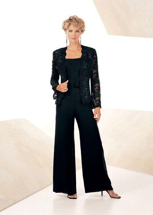 3 Piece Formal Long Sleeves Black Lace Jacket Women Lady Pant Suits Custom Made Female Evenig ...