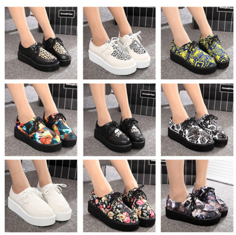 Free shipping 2015 Fashion Black Suede British Goth Punk Creepers Flats Hot Sale Lace up Skull American USA Flag Boat Shoes(China (Mainland))