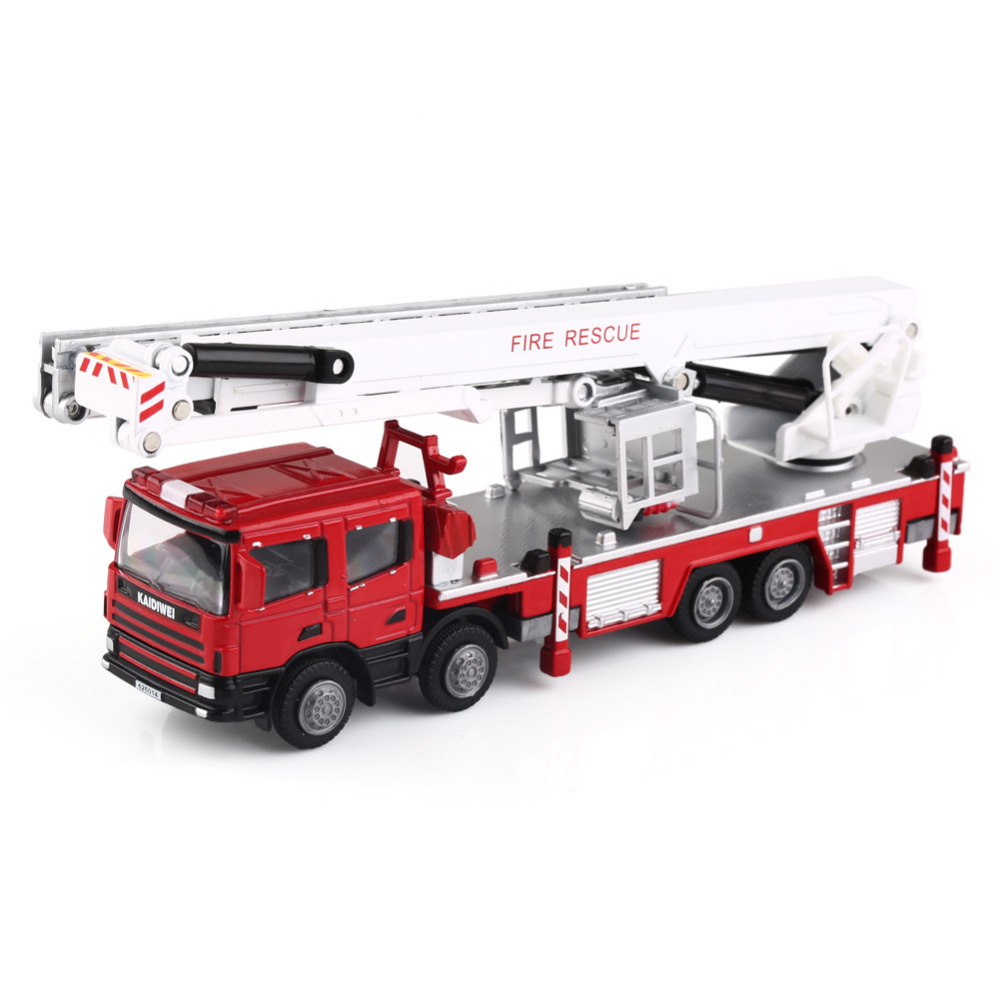 NEW Diecast Truck Model 1:50 Red Aerial Ladder Rescue Truck Fire Vehicle By KDW Home Decoration Unique Gift Craft(China (Mainland))