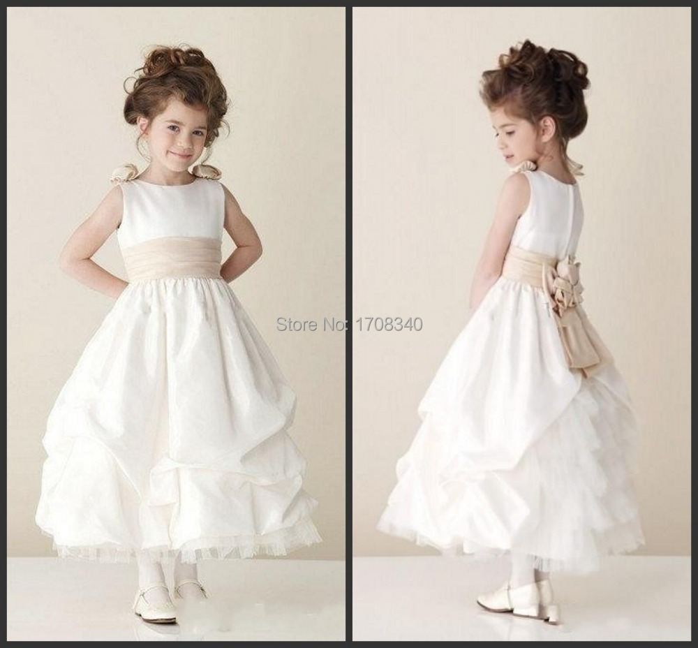 2015 Cut White Ankle-Length Flower Girls Dresses With Bow Sash Satin Long Christening Kid Girls Daily Dress(China (Mainland))