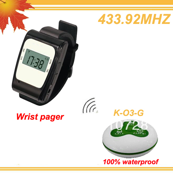433.92MHZ More efficient Dinner bell pager calling system w 1 wrist display and 15 buttons CALL,BILL,CANCEL free shipping free(China (Mainland))