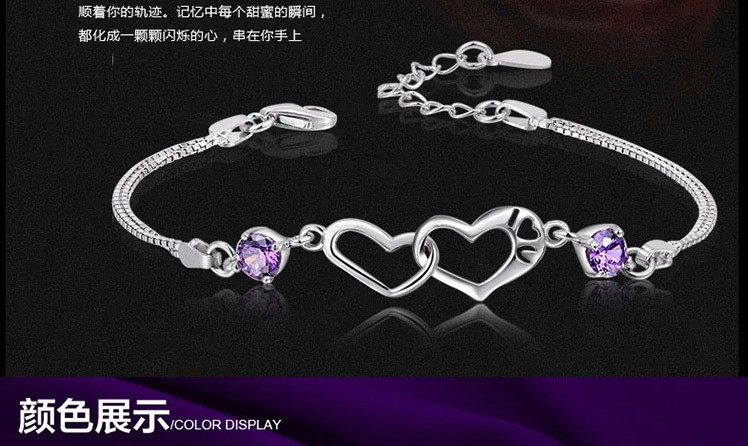 New 2016 summer design authentic silver natural purple crystal Zircon Bracelet Fashion Jewelry for women custom wedding gifts