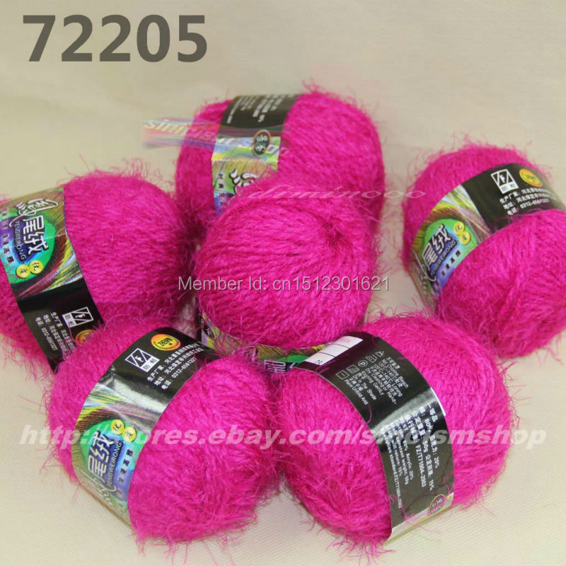 Wholesale Sale 6 Ball X 50g Natural Creative soft Eyelash hand-woven Knitting Yarn High Quality Free shipping hot pink 05(China (Mainland))