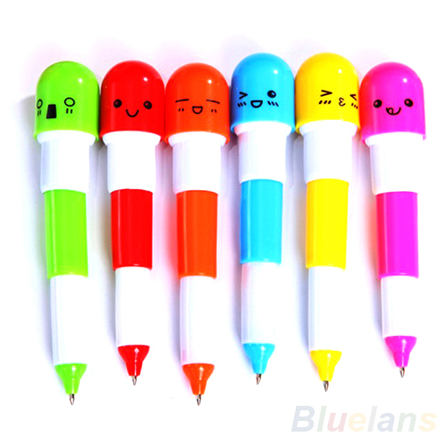 6PCS Cute Smiling Face Pill Ball Point Pen Pencils Telescopic Vitamin Capsule Ballpen for School Use 0AHQ(China (Mainland))