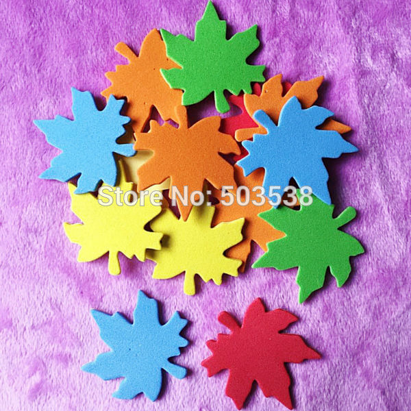 50PCS/Lot,4cm mixed color maple leaf foam stickers,Kids toy.Scrapbooking kit.Early educational DIY.Cheap.kindergarten craft