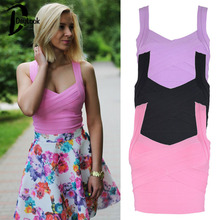 High Quality Pink&Purple&Black Elastic Bodycon Crop Top Shoulder Straps V Neck Sexy Top Tank Women Sport Vintage SM(China (Mainland))