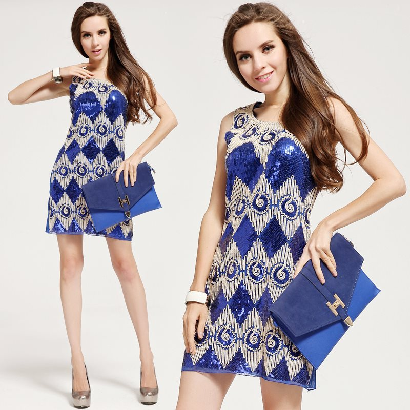 6018# blue dress elegant mysterious sequins dress model making(China (Mainland))