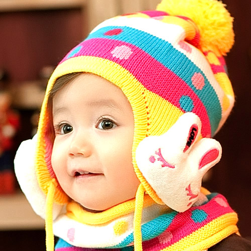 Free shipping child hat scarf twinset male female child autumn and winter baby cap baby ear protector(China (Mainland))