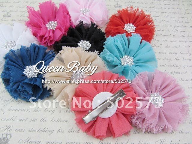 240pcs/lot   Vintage Chiffon Flower Hair Clip  Shabby Flower Hair Clip  Shoe Clips