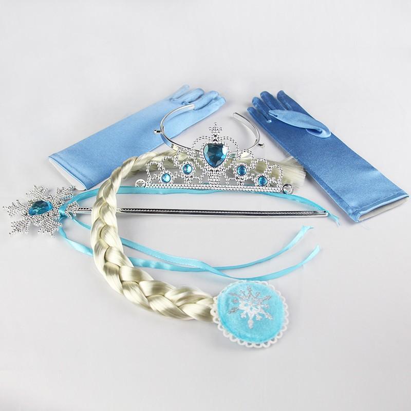Baby Girls Princess Crown Elsa Anna Floral Crowns Accessories Brand Tiara Cosplay Headband Crown + Wig +magic Wand+Glove