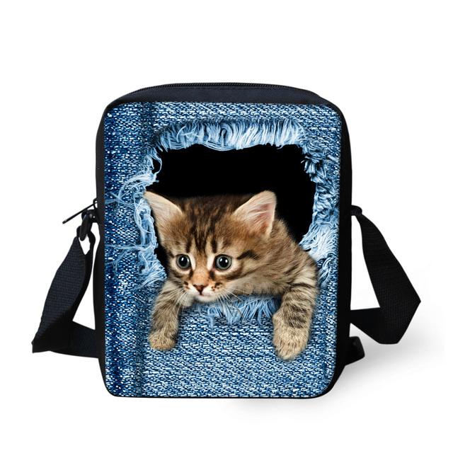 Симпатичные джинсовые кошка школьные сумки для девочек 3D животных печать школьный ...