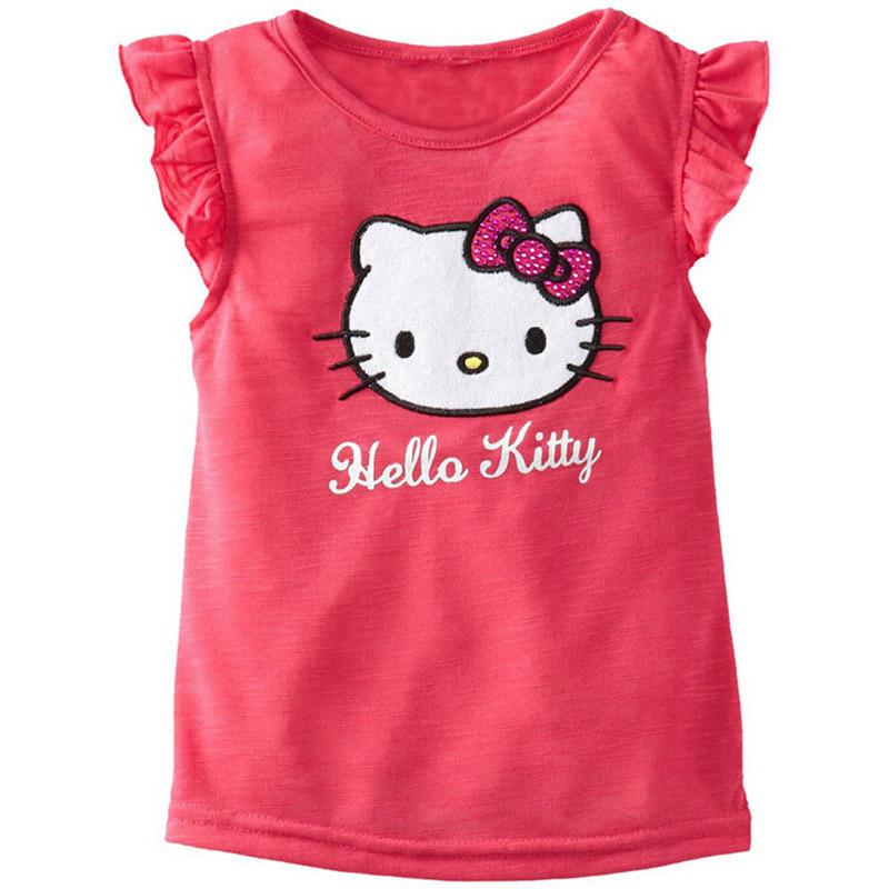 New Summer Style 100% Cotton Kids Clothes Girls Shirts Short-Sleeve Children T-Shirt Hello Kitty Printing T-shirts For Girls(China (Mainland))