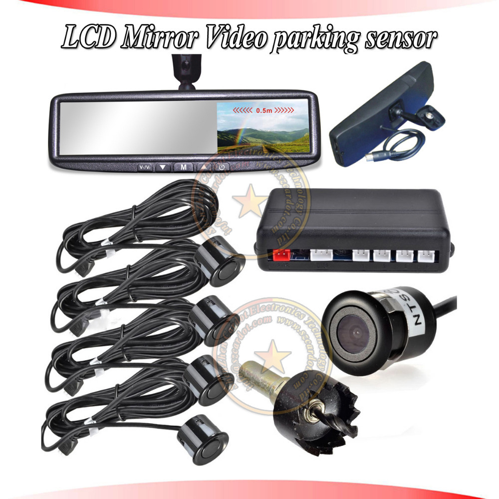 cardot new rearview parking sensor is with LCD video display,two ways video input,4.3inch LCD monitor,buzzer alarm indication(China (Mainland))