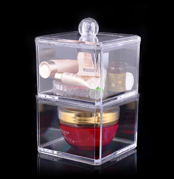 Free Shipping 9*9*15.5 CM Crystal Plastic Multi-function Cosmetic Tools Storage Box,Wholesale Square Cosmetic Cotton Storage Box(China (Mainland))