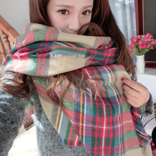 Hot Sale Lady Women Cozy Mini Blanket Oversized Tartan Scarf Shawl Plaid Retail/Wholesale 4VQM