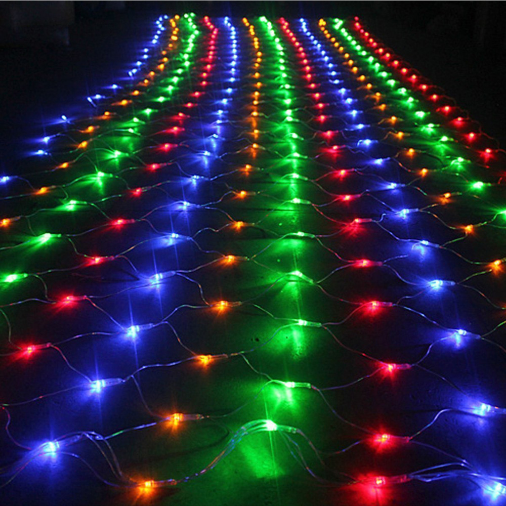 1.5mx1.5m 96 LED Net Mesh Fairy String Light Christmas Wedding Party Fairy String Light with 8 Function Controller EU/US/UK Plug(China (Mainland))