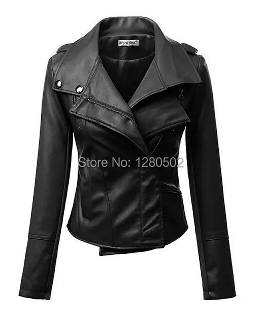 Новый 2015 весна короткий участок тонкие дамы куртки пу мягкая мотоцикл кожаной куртки ...
