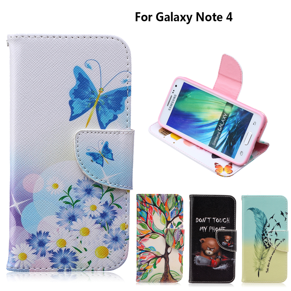 """Stand Case coque Samsung Galaxy Note 4 Case fundas Samsung Note 4 Case Cover Note 4 IV N9100 N9108 5.7"""" + Card Holder"""