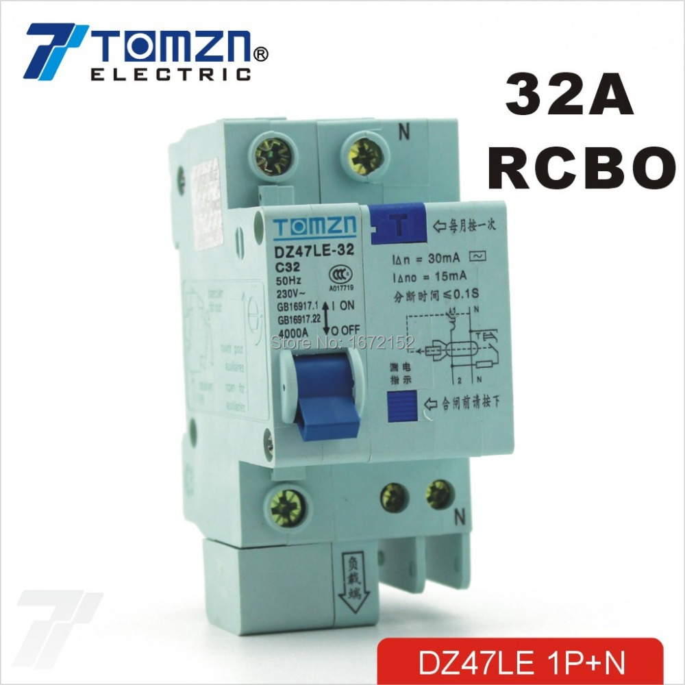 DZ47LE 1P+N 32A 230V~ 50HZ/60HZ Residual current Circuit breaker with over current and Leakage protection RCBO<br><br>Aliexpress