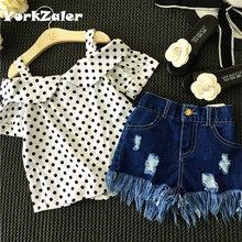 Buy Girls Clothing Set Dot White Shoulderless Shirt+Tassel Jeans Shorts Pants Kids Clothes Suit Denim Children Clothes set baby girl for $11.61 in AliExpress store