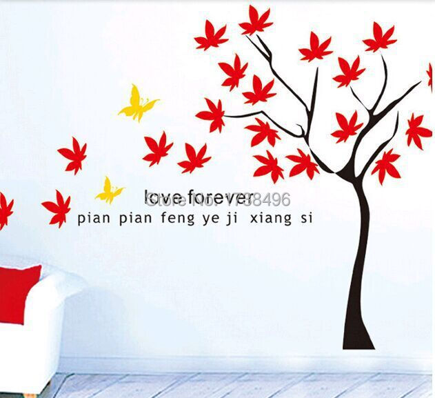 Wall Stickers Autumn Maple Tree Wall Stickers Home decoration Wall decals for Kids Nursery Living Rooms DM35-0004(China (Mainland))