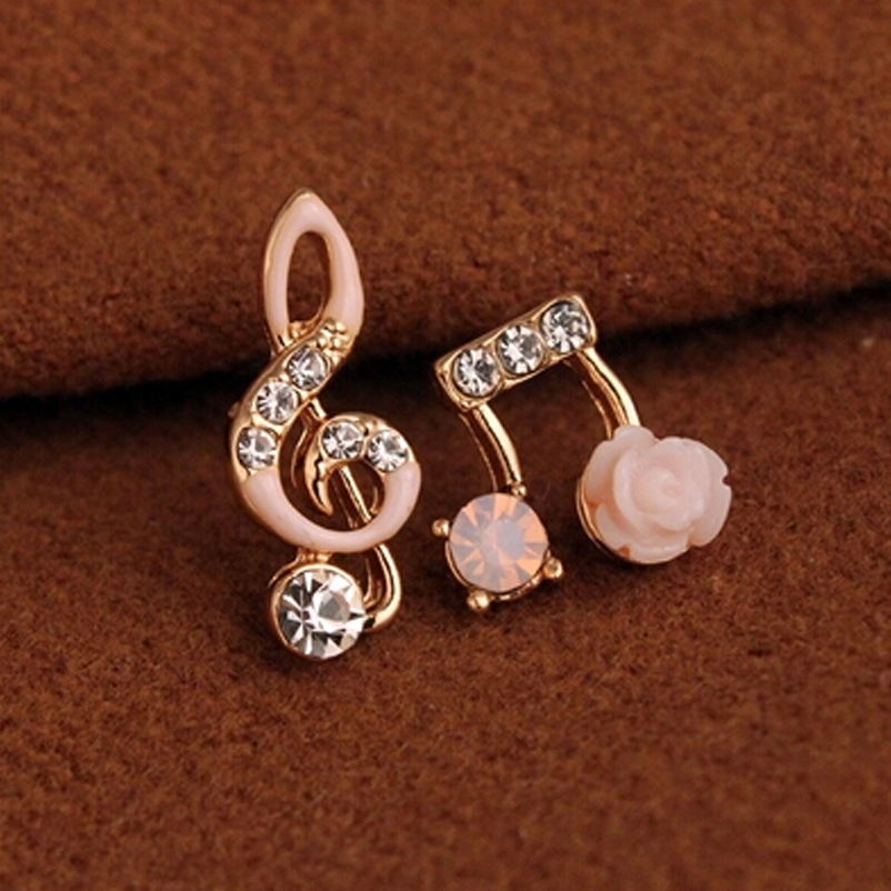 Music Note Stud Earrings Fashion Accessories Crystal Rhinestone Jewelry Women Gift Brincos XYE520 - XY Company (Min order $8 store)