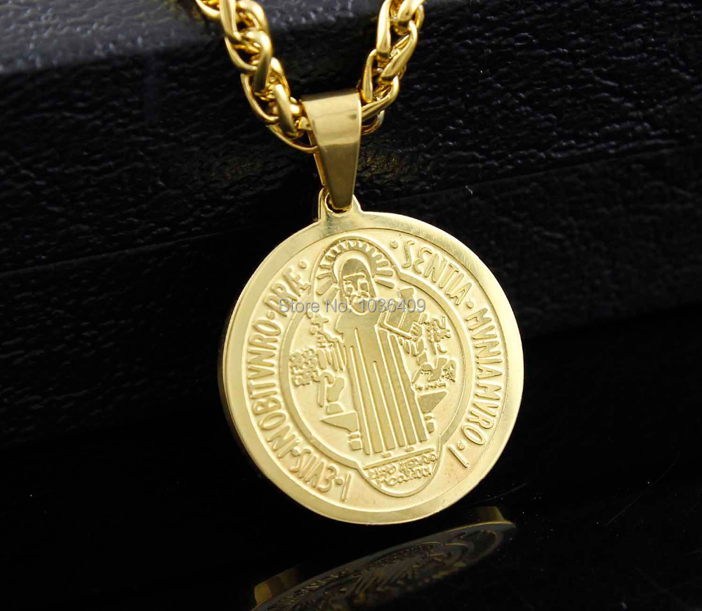 Gold Stainless Steel Saint Benedict Medal Cross Charms Pendant Necklace(China (Mainland))