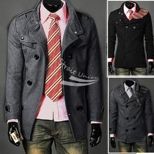 Men Slim Designed Coat Jacket Hot Stylish Woolen Jacket Double Pea Trench Topcoat Outerwear(China (Mainland))