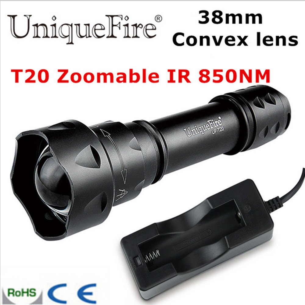 UniqueFire T20 LED IR 850NM 38mm Convex Lens Infrared Light Night Vision LED Flashlight Torch hunting camping  flashlight<br><br>Aliexpress