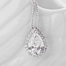 Teemi Luxurious S925 Sterling Silver Pendant Necklace Water Drop Shape Clear Zircon with Tiny Cubic CZ
