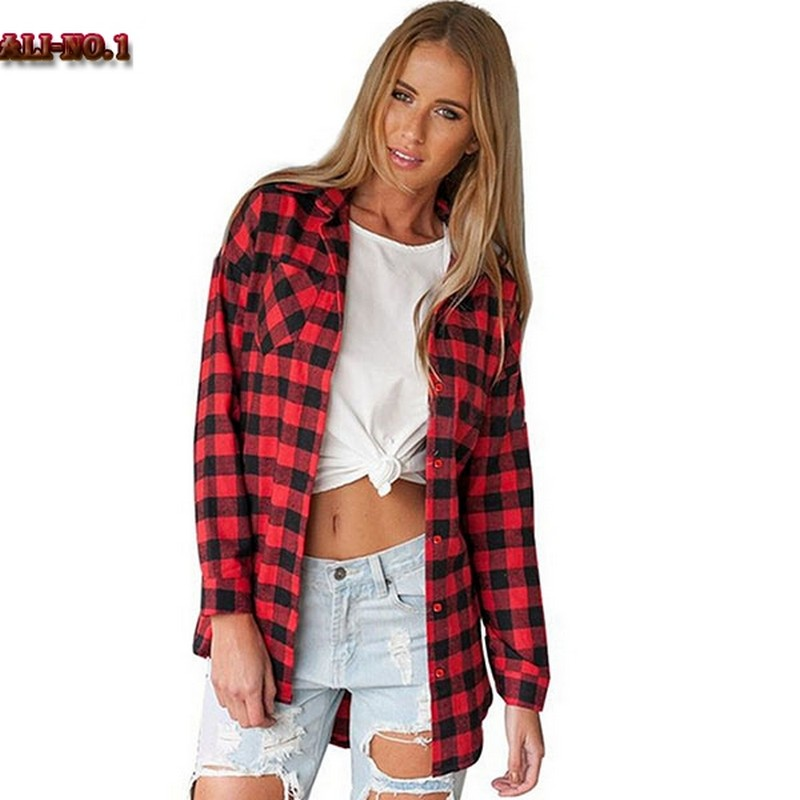 Popular black flannel buy cheap black flannel lots from Womens red plaid shirts blouses