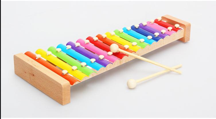 Free shipping, wooden toys, children's educational toys, ju wood ten tune xylophone, aluminum on a harp, standard xylophone(China (Mainland))