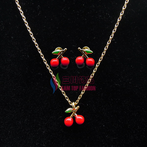 New arrival fashion girls lovely mini cherry false collar pendant Clavicle chain necklace earringS sets para el collar(China (Mainland))