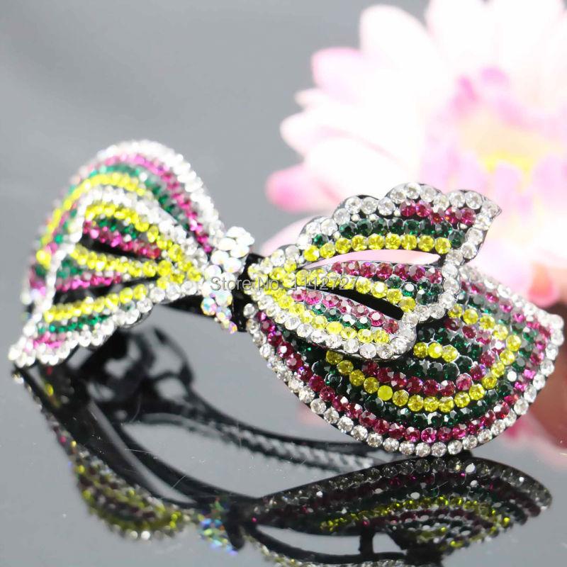 40*90mm Butterfly Bows Bowknot Hair Accessory Wedding Headdress Bridal Hairpin Rhinestone Hair Clip Head Bands Headband(China (Mainland))