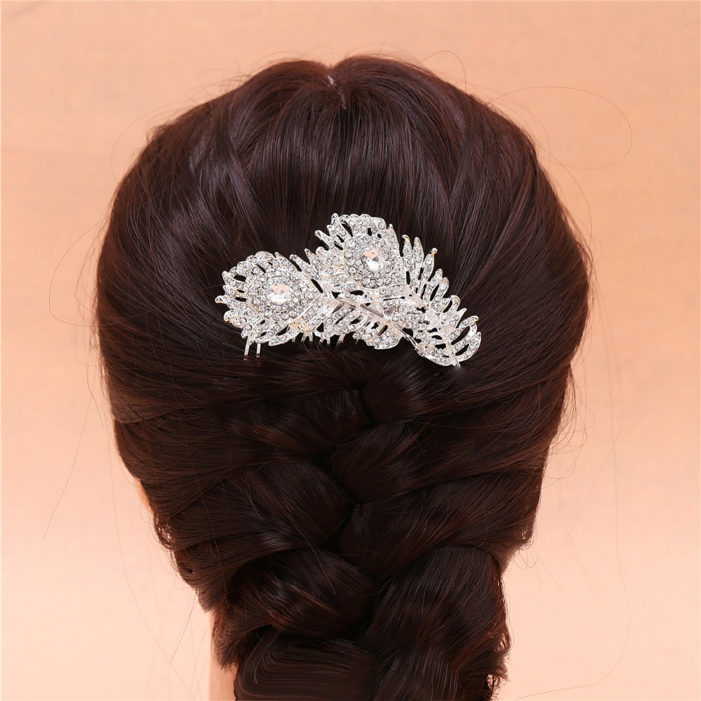 2016 Korean Bride Head Jewelry Fashion Adjustable Double Feather Crystal Rhinestone Wedding Bridal Hair Comb For Woman EW203(China (Mainland))