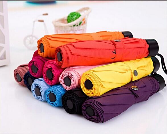 Free Shipping New Selling Umbrellas Solid Polyester Pongee Folding Sunny&Rainy Umbrella Multi Colors Umbrellas(China (Mainland))