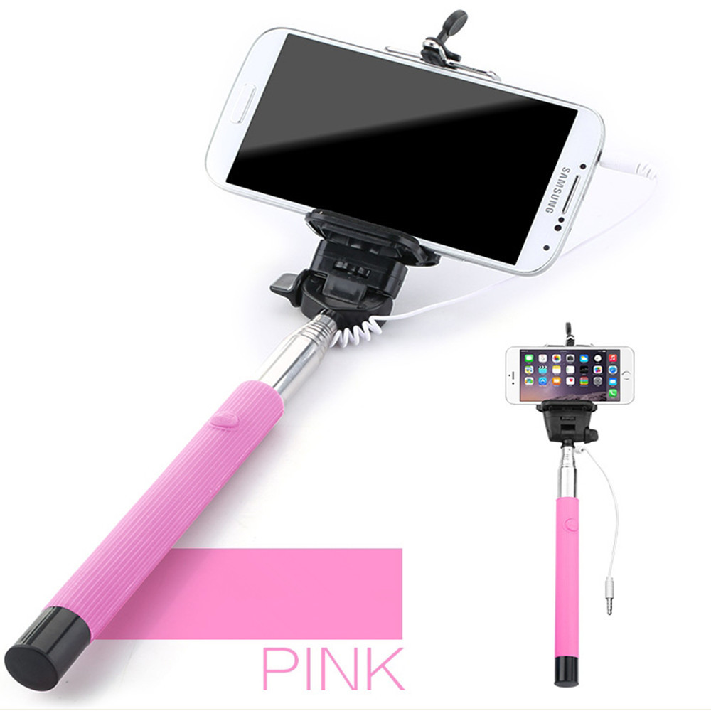 wired selfie stick extendable monopod bluetooth selfie handholder self stick. Black Bedroom Furniture Sets. Home Design Ideas