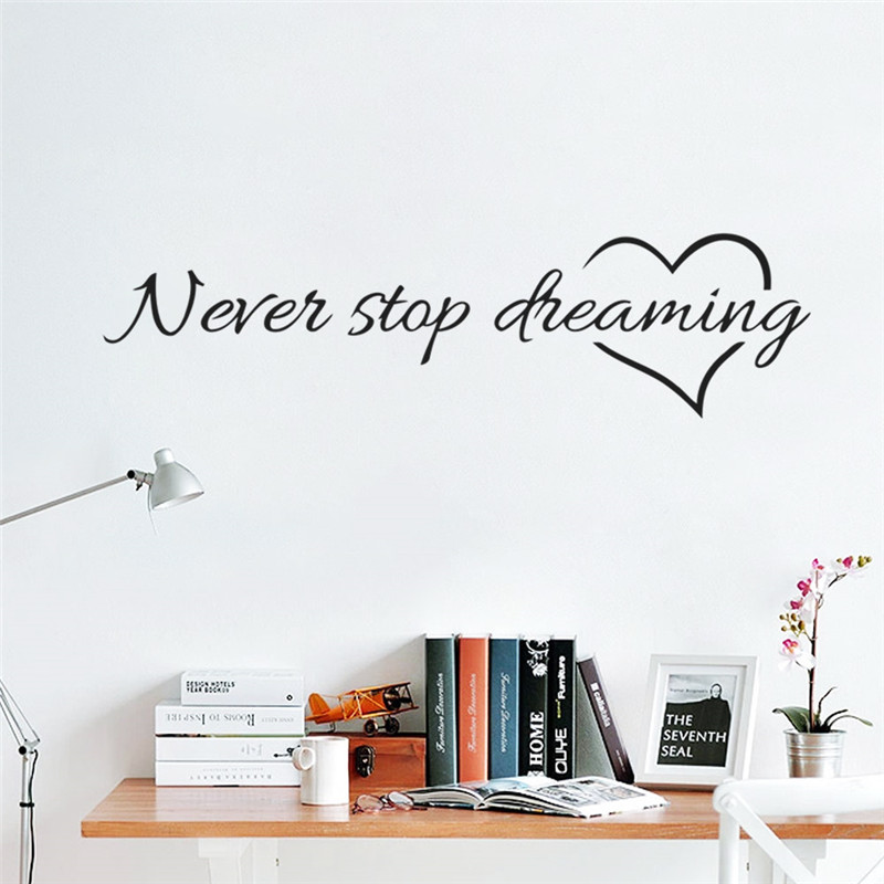 % Dream Motto Never Stop Dreaming Wall Stickers inspiring Quotes Home Decor DIY Vinyl Wall Art Decal Mural Home decoration Art(China (Mainland))