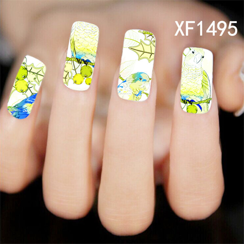 1 Sheets New Arrival Nail Art Wild Animal Bird Designs Stickers Decals Patch DIY Tips Full Cover Finger Toes Nail Tools XF1495(China (Mainland))