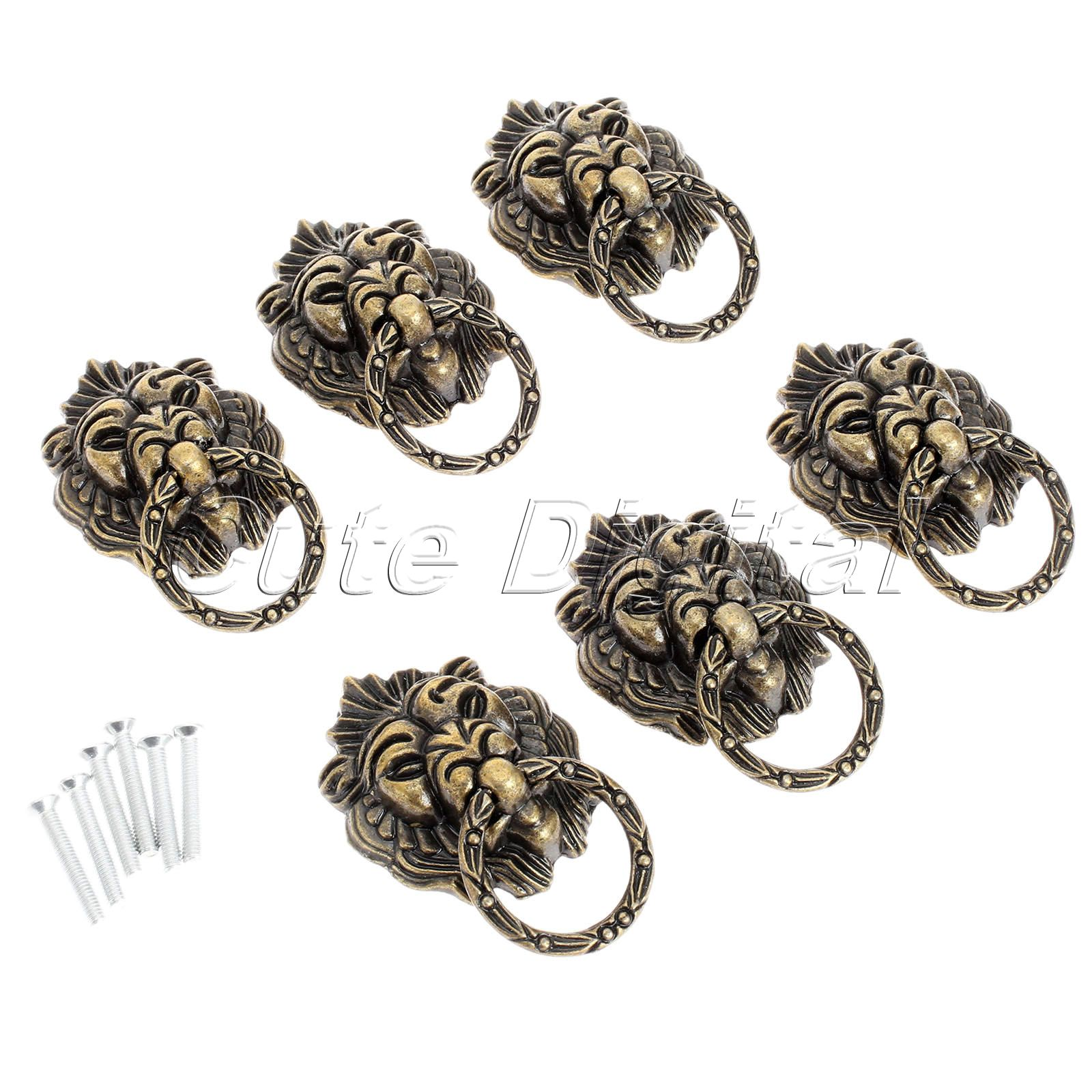 6pcs Antique Brass cabinet knobs and handles for furniture Pull Handle Cupboard Handles Pull Knobs Decorative Furniture Fittings