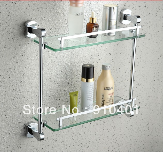 Free shipping Wholesale And Retail Promotion Luxury Chrome Brass Wall Mounted Bathroom Caddy Cosmetic Glass Shelf Dual Tier(China (Mainland))